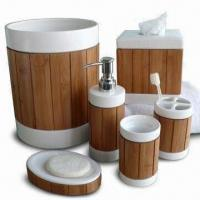 Buy cheap Bath Accessories/Set, Made of White Ceramic Body with Bamboo Panel Design from wholesalers