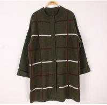 Buy cheap Plus Size Womens Wool Sweaters Rib Crew Neck Long Stripe Cardigan Knitwear Supply from wholesalers