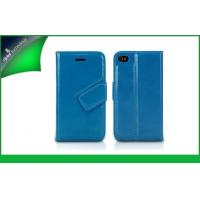 Buy cheap Blue PU Leather Cell Phone Wallet Cases For Iphone 5 / 5s Different Textures from wholesalers