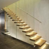 Wholesale High quality indoor floating solid wood tread open stairs/staircases floating staircase from china suppliers