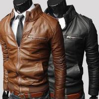 Buy cheap Hot sale bulk plain polyester waterproof cheap european fashion winter men leather coat from wholesalers