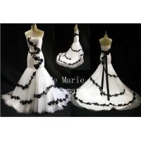 Strapless mermaid black applique lace wedding dress bridal gown BYB-14597 Manufactures