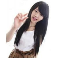Cute natural Fashion Long Straight Wig Kanekalon BLACK Full Wigs Manufactures