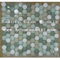 Buy cheap Hexagon Withte Marlbe Mix with Freen Glass Mosaic product