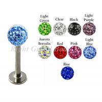 Buy cheap Light Sapphire Labret Monroe Jewelry , Crystal Ball Lip Piercing Studs from wholesalers