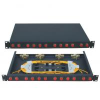 Fixed type Rack Mounted terminal box FC connector  12 ports  Fiber Optic Patch Panel 24 fiber black cold-rolling sheet Manufactures