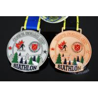 Wholesale Canada Sports Skiing Events Custom Metal Medals, Raised Metal Shiny And Recess Mett Effect, Sublimated Ribbon from china suppliers