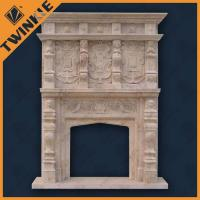 China Egypt Cream Marble Outdoor Fireplace Mantel With Grand British Style on sale