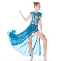 Buy cheap MiDee Best Sell Lyrical Dance Costumes Dresses Floral Sequins Leotard Cap Sleeves Leg Opening from wholesalers