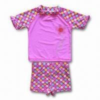 Buy cheap Sun Protective Swimwear, Lycra Rash Shirt and Brief Match with Flat Hat from wholesalers