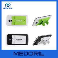 Wholesale Smart phone wallet 3M sticky silicone mobile card holder with slap stand from china suppliers