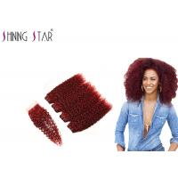 Buy cheap 99J Red Curly Weave Hair Extensions , Burgundy Natural Curly Hair Extensions from wholesalers