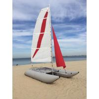 White / Red Inflatable Sailing Catamaran 6.05sqm Mainsail 2.2m Width With Two Sails Manufactures