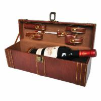 Wholesale Custom 1 Bottle Anniversary Wine Boxes Brown Buckle and Tool Set PU from china suppliers
