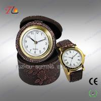Elegant classic travel PU leather desk clock and watch gift set for promotion