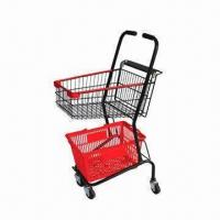 Buy cheap Greocery Cart Two Basket Holders Shopping Trolley/Cart with Chrome Plating Finish and 3-inch Wheel from wholesalers