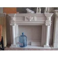 Buy cheap Pure White Hand Carved Stone Fireplace Carving Flower product