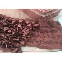 Buy cheap 100% Polyester Soft Lace Fabric 3d Flower / Tulle Lace Fabric For Wedding Dress from wholesalers