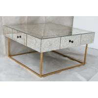 Buy cheap Large Size Square Mirrored Coffee Table Antique Gold Leaves Finish from wholesalers