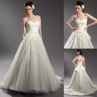 Beaded Flower Applique Tulle Sweetheart Wedding Gowns with Bow Knot Belt Manufactures