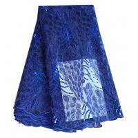 Buy cheap Fashion bridal cord tulle lace royal blue polyester net lace fabric with sequins from wholesalers