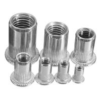 Buy cheap Zinc Plated Carbon Steel Blue White Knurled Body Rivet Nut Flat Head Threaded Insert Nutsert from wholesalers