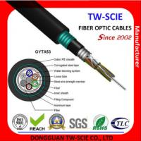 Buy cheap Black Single Mode Armored Fiber Cable , Double Armoured Network Cable Water Blocking System from wholesalers