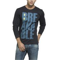Buy cheap O - Neck Collar Black Long Sleeve Shirt Mens Eco Friendly With Blue Letter Pattern from wholesalers