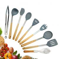 Buy cheap Nonstick Silicone Kitchen Utensils Set Hard Wood Handle Turner Tongs Spatula from wholesalers