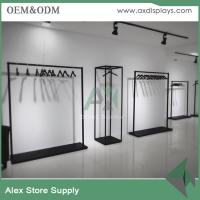 Buy cheap Women clothing display black wooden rack for clothes shop decoration metal rack from wholesalers