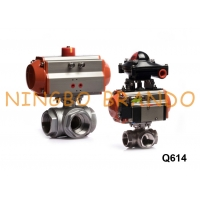 Buy cheap 3 Way Pneumatic Actuated Ball Valve With Solenoid Valve Limit Switch from wholesalers