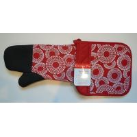 Wholesale Kitchen Pro 2-Piece Oven Mitts , Red / White Pot Holder Set With Neoprene from china suppliers