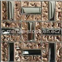 Wholesale Silver and Rose Color Plating Glass Mosaic Tile 15*48*8mm from china suppliers