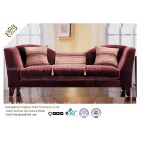 Wine Red Fabric Velvet Hotel Lobby Sofa Three Seat Classical In Fabric Upholstered