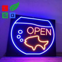 Buy cheap Custom Led Open Neon Light Signs Wall Mounted With Black Square Backing from wholesalers