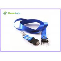 Buy cheap Advertising Blue Lanyard USB Stick 16gb Customized Flash Memory Drive for engineer / designer from wholesalers