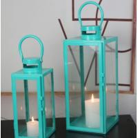 Buy cheap blue color set of 2 glass metal square candle Lantern Garden Night Wedding Outdoor Tea Light Decor from wholesalers