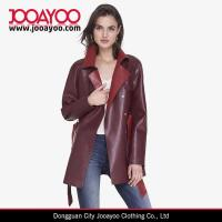Buy cheap Women Latest Design Coat Color Block Red Faux Leather Vintage Trench Coat from wholesalers