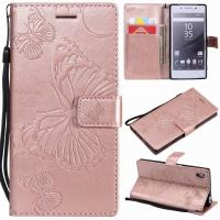 Buy cheap Sony Xperia Z5 Embossing 3D Butterfly Leather Bracket Stand Wallet Case with wristlet strap from wholesalers