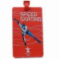 Buy cheap 3D Level Promotional 105 x 63 x 4mm Sports PVC Luggage Tag with Paper Name Card product