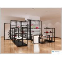 Buy cheap Lady shoe store black metal display racks with white wood shelves also cashier counter from wholesalers