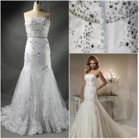 Wholesale 2012 Sexy Beautiful Strapless Sheath Ruffle Lace Appliqued Paillette Fashionable Wedding Dress (WD-002) from china suppliers
