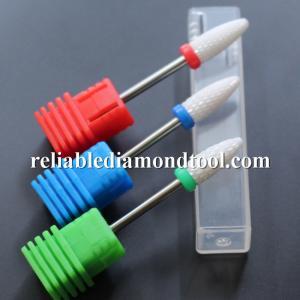 Dia 6.5MM Ceramic Nail Drill Bit White Ceramic Burr For Nail Shank Manufactures