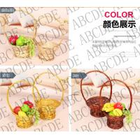Buy cheap white wicker willow flower basket with long handle (factory supplier) from wholesalers