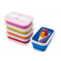 Buy cheap Single Lattice Rectangle Microwave Safe silicone food storage containers 650ML from wholesalers