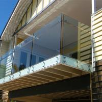 Buy cheap Exterior metal handrail kits with glass panels and side holders from wholesalers