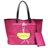 Wholesale Red Shoulder Neoprene Shopping Bag Bottom Edge Pulling Bone Wrapped , Large Capacity from china suppliers