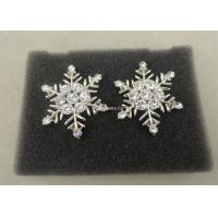 Buy cheap Customized Zinc Alloy Die Casting Snow Flower Brooch Pin , Clear Stone Metal Badges from wholesalers