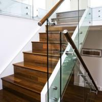 Wholesale Modern Wood Staircase Treads With Frameless Glass Railing from china suppliers
