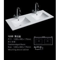 Buy cheap Bathroom ceramic white color double above cabinet luxury european rectangle top two hole wash basin from wholesalers